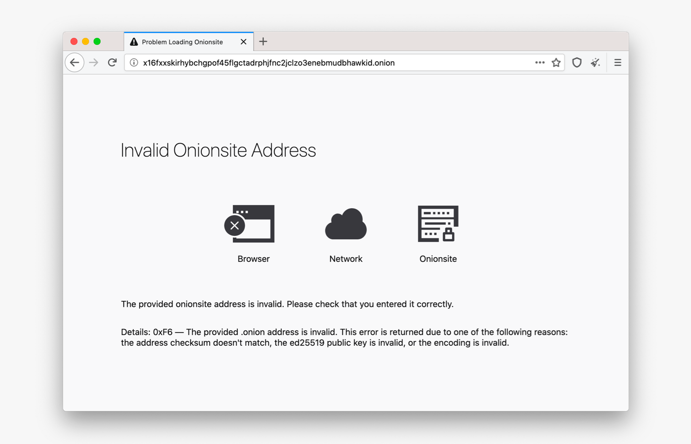Tor Browser 9.5 Error Pages for Onionsites